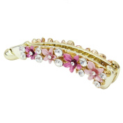 ReFaXi Lady Girls Crystal Flower Barrette ,Beautiful Metal Rhinestone Hair Clip for Hair Clip Beauty Tools