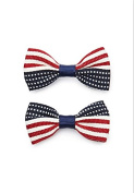 American Flag Bow Clip Set