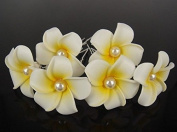 Moeni 10 Pcs Small White Hawaiian Plumeria Pearl Flower Foam Hair Clip U Pin