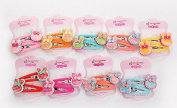 Amoy 12pcs Assorted Colours Girl's Strawberry Rabbit Hair Pins Hair Clips Barrettes