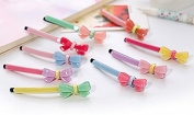 Amoy 12pcs Assorted Colours Girl's Bow Hair Pins Hair Clips Barrettes