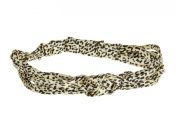 Jane Tran Satin Tie Knotted Headband in Leopard Animal Print