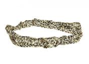 Jane Tran Satin Tie Knotted Headband in Leopard Animal Print