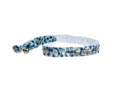 Jane Tran Knotted Blue Animal Print Elastic Headband with Crystals & Beads