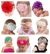 Qandsweet 9pcs Headbands with Flower for Baby Toddler and Children