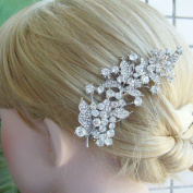 Sindary Bridal Headpiece 11cm Silver-tone Clear Rhinestone Crystal Leaf Bridal Hair Comb Wedding Hair Jewellery
