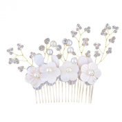 Shell Flowers Bridal Hair Comb Crystal Simulated Pearls Handmade