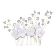 Shell Flowers Bridal Hair Comb Crystal Simulated Pearls Handmade