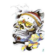 Yeeech Temporary Tattoo Sticker Skull Wisdom Series Sanskrit Prajnā Skull Lotus Design for Men/women