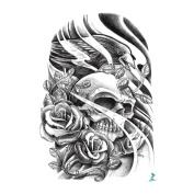 Yeeech Temporary Tattoo Sticker Skull Power Series Eagle Rose Resurrection Wind Design for Men/women