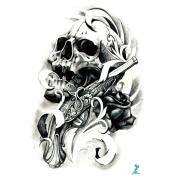 Yeeech Skull Reborn Series Temporary Tattoo Sticker Gun Rose Design for Men/women