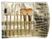 VOLUMUS(TM) 7 PCS Premium Makeup Brush Set With Golden Pouch