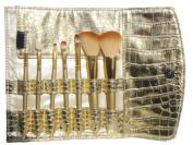 VOLUMUS(TM) 7 PCS Premium Makeup Brush Set With Golden Pouch