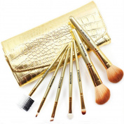 Scheppend 7Pcs Portable Makeup Brush Set Golden Alligator Pattern Brush Bag Case