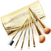 Scheppend 7Pcs Portable Makeup Brush Set Golden Alligator Pattern Brush Bag Case