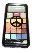 Blue & Brown PALETTE 16 Eye Shadows & 3 Lip Gloss Compact City Colour PEACE SIGN