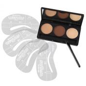 Beauty7 Eyebrow Makeup Kit 2 Shades of Eyebrow Powder + 1Pot of Eyebrow Wax + 1 Eyebrow Brush + 4 Eyebrow Shaping Stencils