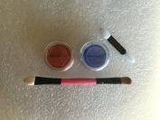 Lot of 2 3g Jars Matte Ultramarine Blue Eye Shadow and Reddish Orange Eyeshadow with 10cm Dual 5.1cm Applicator Stick
