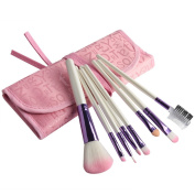 Imcolorful Beauty 8 Pcs Pro Cosmetic Makeup Brush Set with Pink Letter Print Bag