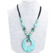 Handmade Retro Tribal Crystal Beads Moon Round Turquoise Pendant Necklace, the Best Love Gift for Grandmother / Wife / Mother