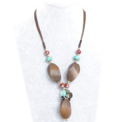 Unique Retro Bohemian Tribal Turquoise Natural Brown Wood Refined Details Handmade Necklace, Best Gift for Grandmother