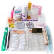 Fashion Zone Buffer File Brush Acrylic Powder Liquid Tips Nail Art Kit