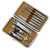Surker 10 pcs High Quality Chrome Steel Manicure Kit and Nail Clipper Suits