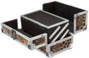JustCase Cosmetic Makeup Train Case with Mirror and Easy Clean Extendable Trays, Leopard