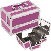 JustCase Cosmetic Makeup Train Case with Mirror and Easy Clean Extendable Trays, Purple Smooth