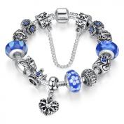 Bamoer Queen European Style Blue Snow Murano Glass Bead Heart Dangle Charm Bracelet Jewellery Gift 18cm/20cm