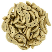 Two-Hole Crescent Beads, Metallic Flax -10 grammes
