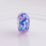 Jewellery Blue with Pink Flower Murano Glass925 Sterling Silver Bead for Pandora European Charm Bracelets
