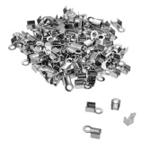 VALYRIA 100pcs Stainless Steel Silver Cord Crimp Ends Caps Connectors Jewellery Findings 8x4mm