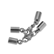 VALYRIA 2Set Stainless Steel 4mm Leather Chain Necklace End Cap with Lobster Clasp Connector Findings
