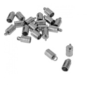 VALYRIA 20pcs Stainless Steel Brushed Finish Cord End Crimps Fits 4mm Cord,10mmx5mm