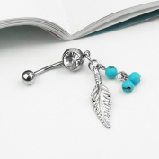 Ecloud ShopUS® Silver Leaf with Blue Beads Crystal Belly Ring Navel Body Piercing Jewellery