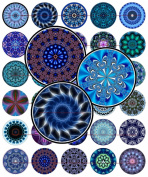 60 Precut 2.5cm BLUE KALEIDOSCOPES Bottle Cap Images A