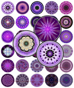 60 Precut 2.5cm PURPLE KALEIDOSCOPES Bottle Cap Images A