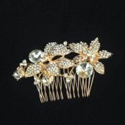 Vintage Inspired Rose Gold Tone Rhinestone Flower Leaf Faux Pearl Bridal Hair Comb /Bridal Hair Comb/rose Gold/003