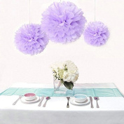 Krismile® Pack of 12 PCS Mixed 3 Sizes Purple Tissue Paper Pom Poms Pompoms Paper Flower Balls Wedding Birthday Baby Shower Decorations