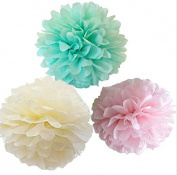 Krismile® Pack of 12 Mixed Mint Ivory Pink Party Tissue Pompoms Paper Flower Pom Poms Wedding Birthday Party Girls Room Decoration