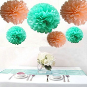 Krismile® Pack of 12PCS Mixed Sizes Peach Mint Green Party Tissue Pom Poms Wedding Birthday Party Girls Room Decoration