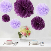 Krismile® Pack of 12pcs Mixed Sizes Purple Lavender Tissue Paper Flower Balls Decorative Flowers Pom Poms Wedding Party Decoration