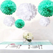 Krismile® Pack of 12PCS Mixed Size White Mint Green Party Tissue Pom Poms Wedding Birthday Party Girls Room Decoration