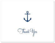 50 Cnt Simple Navy Anchor Nautical Thank You Cards