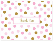 50 Cnt Pink and Gold Polka Dots Thank You Cards