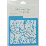 Rebecca Baer Stencil 15cm x 15cm -Alphabet Soup