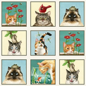 Elizabeth's Studio Curious Cats Quilt Fabric 60cm x 110cm Panel 4322 Cream