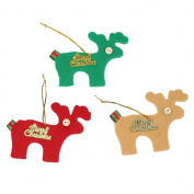 Elk Shape Felt Cloth Christmas Tree Decorative Hanging Ornaments,Green,Red and Khaki