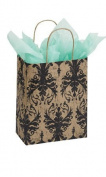 "10 Medium 20cm x 4 ½ "" X 10 ¼ "" (Cub) Distressed Damask Kraft Paper Shopping Gift Bags"
